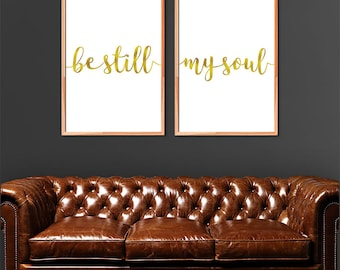Be Still My Soul Print Set of 2 Gold, Bedroom Decor, Wedding Gift, Room Decor, Be Still Print, Bedroom Wall Art, Nursery Wall Art  (A0560)