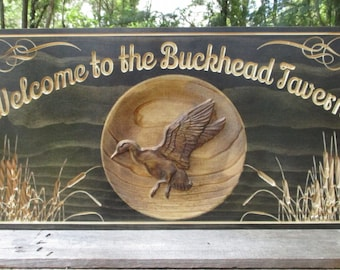 Custom Business Sign Wood Carved Sign Personalized Rustic Name Sign Rustic Bar Sign Duck Hunt Cabin Signs Housewarming Gift Business Sign 3D