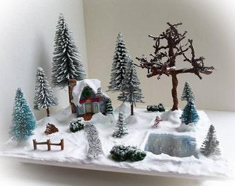 Miniature Christmas Village Scene - Miniature Christmas vignette, miniature Christmas trees, snowman, holiday vignette, winter decor