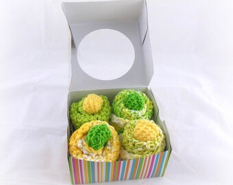 Baby Cupcakes, Washcloth Cupcakes, 4 Knit Washcloths and 2 Sets of Baby Booties in Yellow and Green