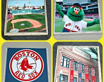 Boston Red Sox - Red Sox Gifts - Fenway Park  - Wally  Green Monster - Boston Massachusetts - Red Sox Decor - Baseball Gifts - Tile Coasters
