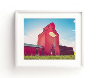 """large colorful wall art, grain elevator, farmhouse art prints, large art, large wall art, large landscape wall art - """"Telling Old Stories"""""""
