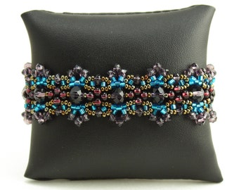 Hand beaded purple turquoise bracelet, double magnetic closure, crystalicious desert sunset 7.5 inches #106
