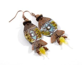 Handgefertigte blaue und gelbe Kupfer Fisch, emaillierten Ohrringe, Fisch Ohrringe, Kupfer Ohrringe, Ohrringe, Boho, AE001