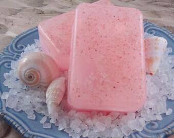 Tickle Me Pink Grapefruit Sea Salt Soap With Pink Sea Salt - Glycerin Soap - Handmade Soap - Sea Salt Soap - Hostess Gift - SoapGarden Soap
