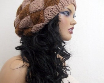 Brown slouch hat-Behind baggy beret (brown-tan)