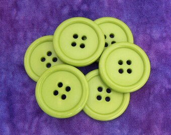 Kiwi Green Buttons, 25mm 1 inch - Light Lime Green Sew-Through Buttons - 6 VTG NOS Pastel Chartreuse Green Plastic Sewing Buttons PL157 bb