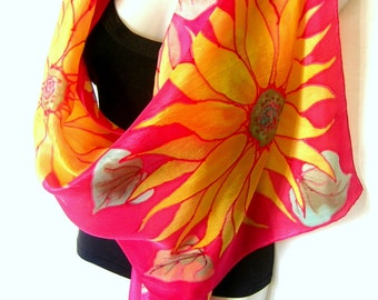 """Sunflowers Silk Scarf Handpainted, Hand Painted Silk Scarf, Red Yellow , Floral Silk Scarf, 71"""" x 18"""", Gift For Her"""