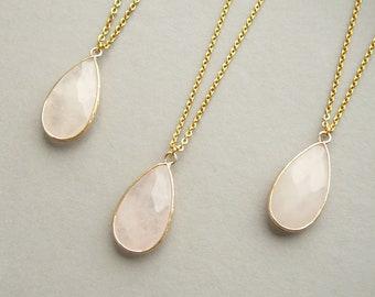 Rose Quartz Necklace Rose Quartz pendant Long Necklaces Healing Crystal Necklace for women Gold Necklace Rose Quartz jewelry gift for women