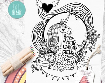 Rainbow Unicorn Coloring Page, Transfer Image,  Stay Wild Unicorn Child, Coloring Pages for Adults, JPG + PDF Instant Download