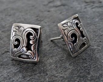 Silver Stud Earrings, Filigree Earrings, Leaf Earrings, Oxidised Earrings, Sterling Silver