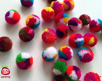Yarn Pom poms, pompom, mixed colors, party pom poms, colorful, red, yellow, pink, green, blue, purple, orange, rainbow, 50 poms, handmade