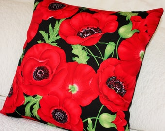 Brilliant Red Poppies with Black back Cushion Cover - 45 x 45cm Lest We Forget