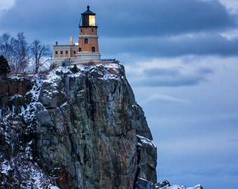Split Rock Lighthouse, Lake Superior North Shore, Nature Photography, Fine Art Print, Winter Evening, Blue Water Sky, Night Sky, Minnesota