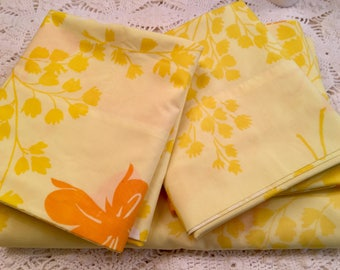 Vintage Pillowcases Queen Flat Sheet - Yellow Butterfly Standard Cases - Soft - Yellow Orange Springmaid Wondercale -NOS Percale