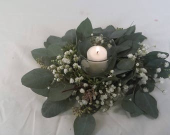 """Live to Dry 9"""" Candle ring, seeded eucalyptus, wreath, overtime gyp, wedding, centerpieces"""
