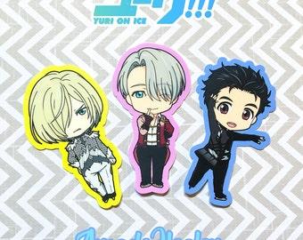 """Yuri On Ice: Yuri and Viktor Vinyl  Stickers 3""""x2"""""""