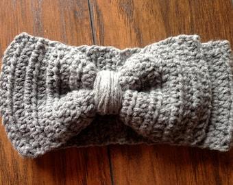 Women's Big Bow Ear Warmer Crochet Earwarmer Headband Head Wrap - ANY COLOR