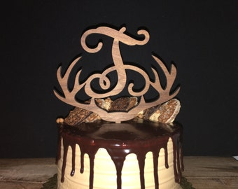 Personalized Initial Antler Wooden Wedding Cake Topper, Walnut
