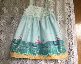 Dress Sizes Girl 2,3 and 6 Lewis and Irene Tale of the Sea Border Fabric Ready to Ship