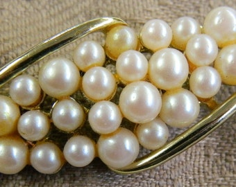 Vintage Gold and Faux Pearl Pin Brooch (3)