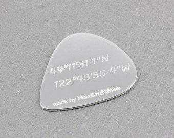 customized guitar pick, personalized guitar pick, coordinates guitar pick, sterling silver guitar pick
