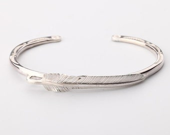 Silver Feather Bangle | Native American Inspired | Feather Jewelry | Sterling Silver Bracelet | Bohemian Bracelet |Feather Slim Bangle Women