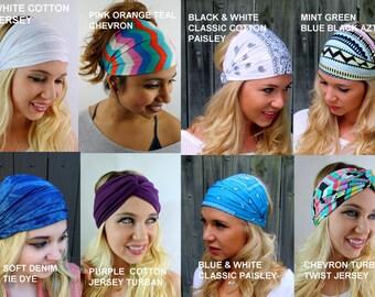 Wide Headband Head Scarf CHOOSE Any TWO Yoga Headband Head Wraps Women Turban Headband Workout Hair Accessories Jersey Cotton Headband