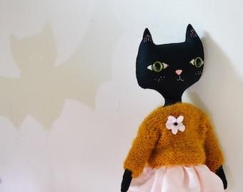 Black Cat doll. Arlette 100 % handmade. Black cat linen collection doll.