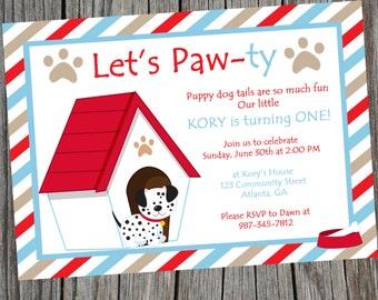 Puppy Party Invitation, Puppy Birthday Invitation, Puppy Invitation, Puppy Party, Digital Invitation, Dog Party invitation, Dog Invitation