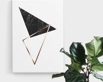 Black Marble Rose Gold Triangle Print, Print Art, Geometric Art, Abstract Art, Scandinavian Print, Minimalist Art, Digital Art, Printable