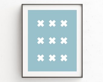 Blue Wall Pictures, Geometric Wall Decoration, Blue Wall Poster, Turquoise, Cross Print,  Geometric Wall Poster, Blue Wall Art Decor