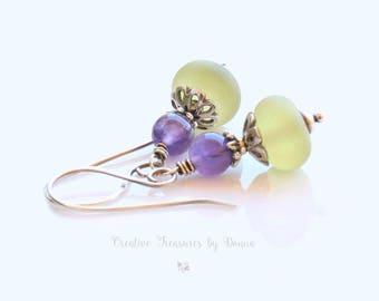 Lime Green Lampwork Earrings Sterling Silver Earrings Amethyst Gemstones Purple Green Earrings Rustic Earrings
