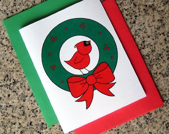 cute cardinal in a wreath holiday christmas cards (blank or custom printed inside) with red or green envelopes - set of 10