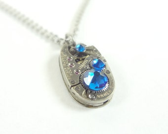 Steampunk Necklace Oval Clockwork Jewelry & Deep Blue Crystals