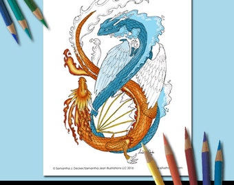 Dragon Coloring Page, Adult Coloring Pages, Printable Coloring Pages for Adults, Fantasy Dualing Dragons by Samantha J. Decker