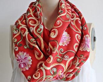 Valentine infinity scarf-Red Pashmina / Long Scarf/Silk Embroidered Pashmina Shawl