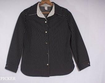 Vintage 1970s Retro Chic Black & White Polyester Pinstripe Button-up Jacket Top, Women's Medium