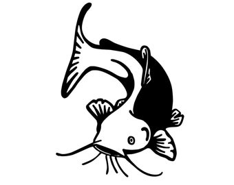 Catfish Fishing Decal , Outdoorsman Fish Sticker , Catfish Silhouette Decal