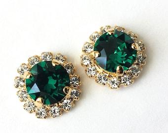 Swarovski Emerald Stud Earrings Emerald Crystal Earrings Bridesmaid Jewelry Swarovski Gold Post Earrings Wedding Jewelry Emerald Earrings