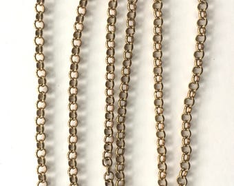 5mm Brass Cable Chain, Belcher Chain, 6FT
