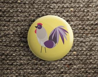 button met haan (pin / magneet / spiegel)