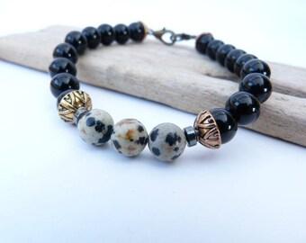Unisex e shiny onyx bracelet and beads 8mm Dalmatian Jasper.