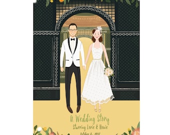 Custom Illustrated Wedding Portrait   Couple Portrait   Wedding Invitation   Digital Illustration   Save the Date Card   Christmas gift
