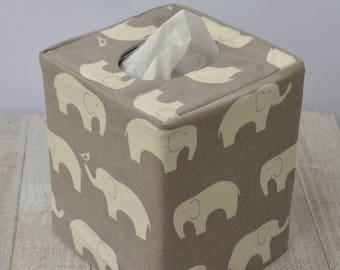 Grey Elephant reversible tissue box cover