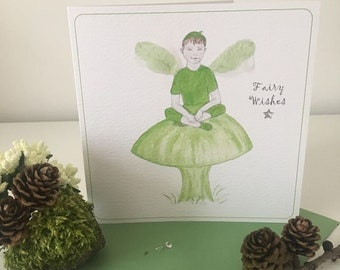Fairy Wishes Pixie Card, Fairy Good Luck Card, Pixie Good Luck Card, Green Pixie Fairy Card, Flicker Wings by Sue Coleman, Fairy Wishes