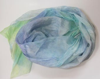 Hand dyed blue, lavender, and lime china silk