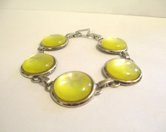 Vintage 60's Yellow Moonglow Lucite Bracelet DEADSTOCK