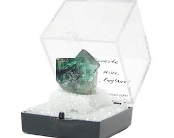 Fluorite verte violet zoné Cube cristaux miniature minéral spécimen Weardale Mine, cristal double pénétration d'une collection de geo immobilier