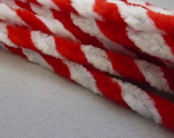 Vintage Red and White Chenille Stems 10mm Wide